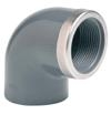 PVCu Elbow 90° plain/BSP female threaded reinforced