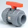 ABS Double union ball valve plain sockets EPDM seals